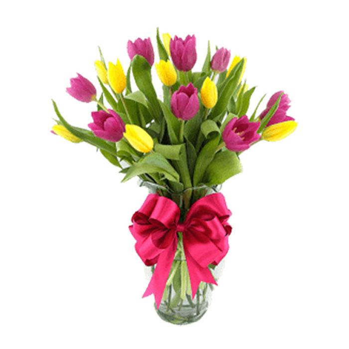 Florero-tulipanes-amarillos-y-lila_Flores Cali es Cali