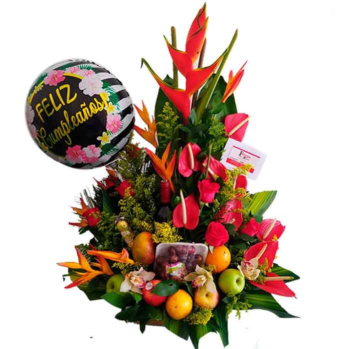 Frutero y flores Feliz Cumpleaños _Floristerias-En-Cali