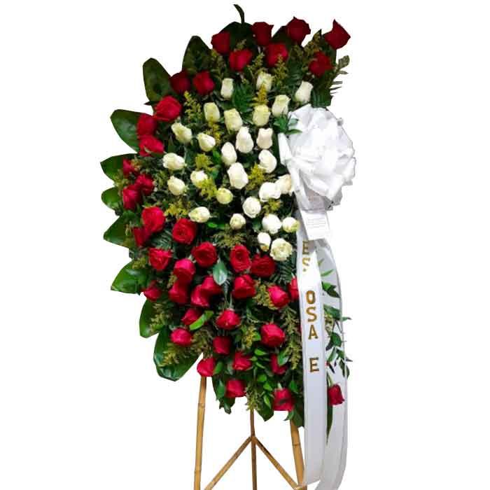 Corona Fúnebre Media Luna Rosas Blancas y Rojas_Floristerias-en-cali